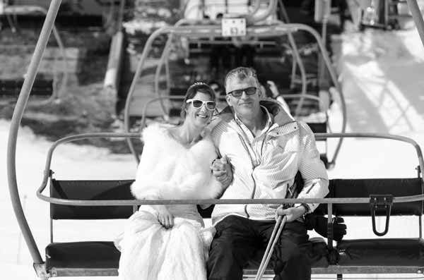 French Alps Wedding on the Ski Lift